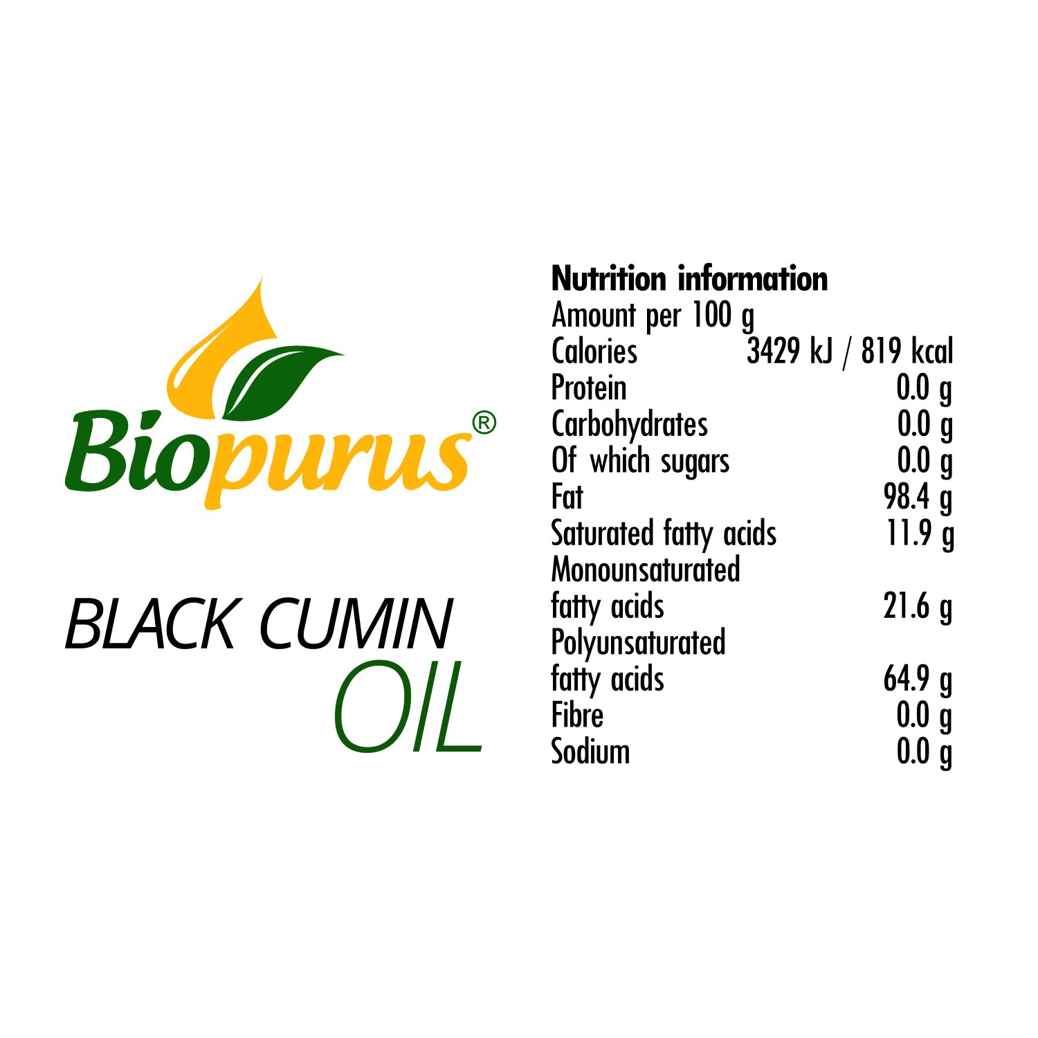 Certified Organic Cold Pressed Black Cumin/Black Seed Oil 250ml 8.45 oz Biopurus at