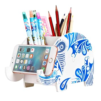 Soporte para lápices de elefante de madera con soporte para teléfono, organizador de escritorio,