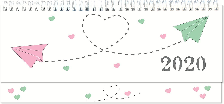 Tischquerkalender 2020 Papierflieger Spiralkalender quer Wochenplaner 1 Woche 2 Seiten Sonn-und Feiertage in Rot 128 Seiten in Rot