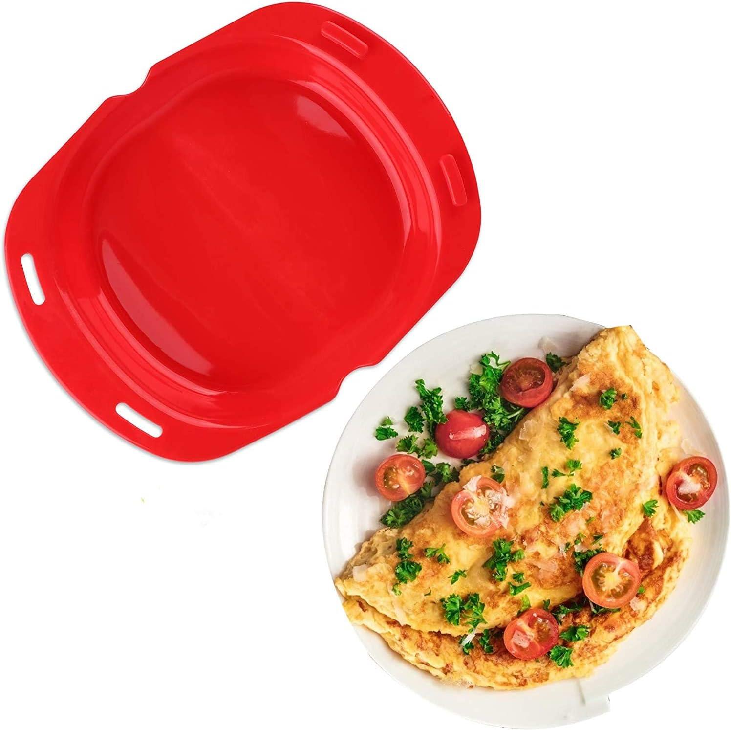 Silicone Omelette Maker, labato Egg Roll Baking Pan Omelette Tools, Quick Breakfast Maker Home Lunch Dinner Maker Microwave Oven Omelette Maker Non Stick Fluffy Omelet Maker Vegetable Steamer (Red)