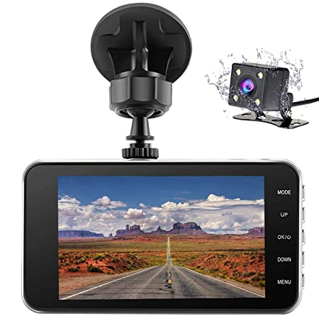 Veoker Dual Dash Cam Car Dashboard Camera Recorder FHD 1080P Front and Rear Cameras Driving Loop Recording 4.0 IPS Screen 170 Wide Angle WDR Parking Monitor G-Sensor, Night Vision, Motion Detection