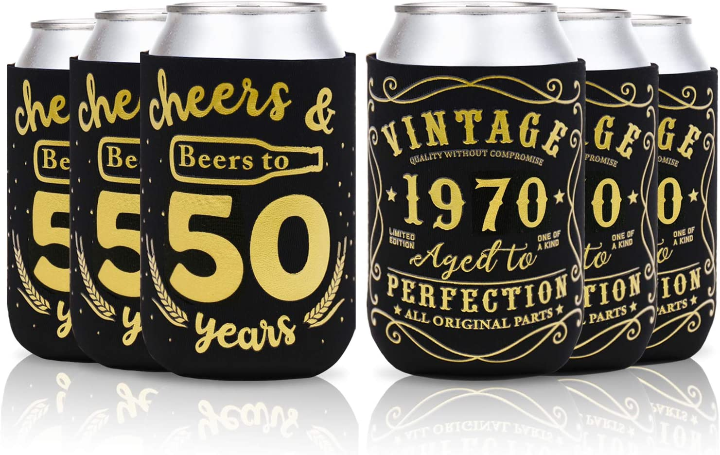 50th Birthday Party Favor Decorations Supplies Cheers & Beers to 50 Years Can Sleeves Vintage 1970 Can Cover Beer Sleeves Black and Gold Neoprene Sleeves for Soda Beer Can Beverage Set of 12