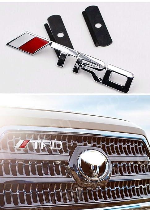 TRD Front Grille Emblem 3D Chrome Badge Metal Power Car Fashion Logo for Tacoma Tundra FJ Cruiser Rav4 CROWN Camry CRUISER PRADO Avalon Decal Badge Labeling DIY Car Decoration Silver-1pcs