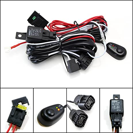 amazon com ijdmtoy 1 5202 psx24w 2504 relay harness wire kit with rh amazon com Fog Lights Relay Wiring with Numbers Ford Contour Fog Light Wiring Diagram