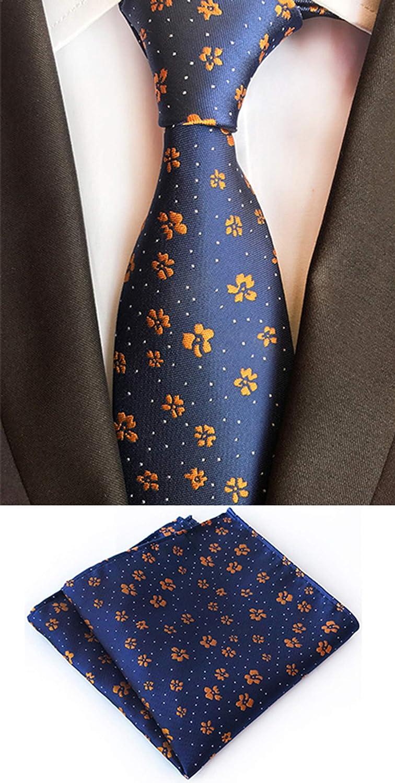 MENDENG Mens Blue Gold Floral Flower Necktie Tie Bar Pocket Square Cufflinks Set