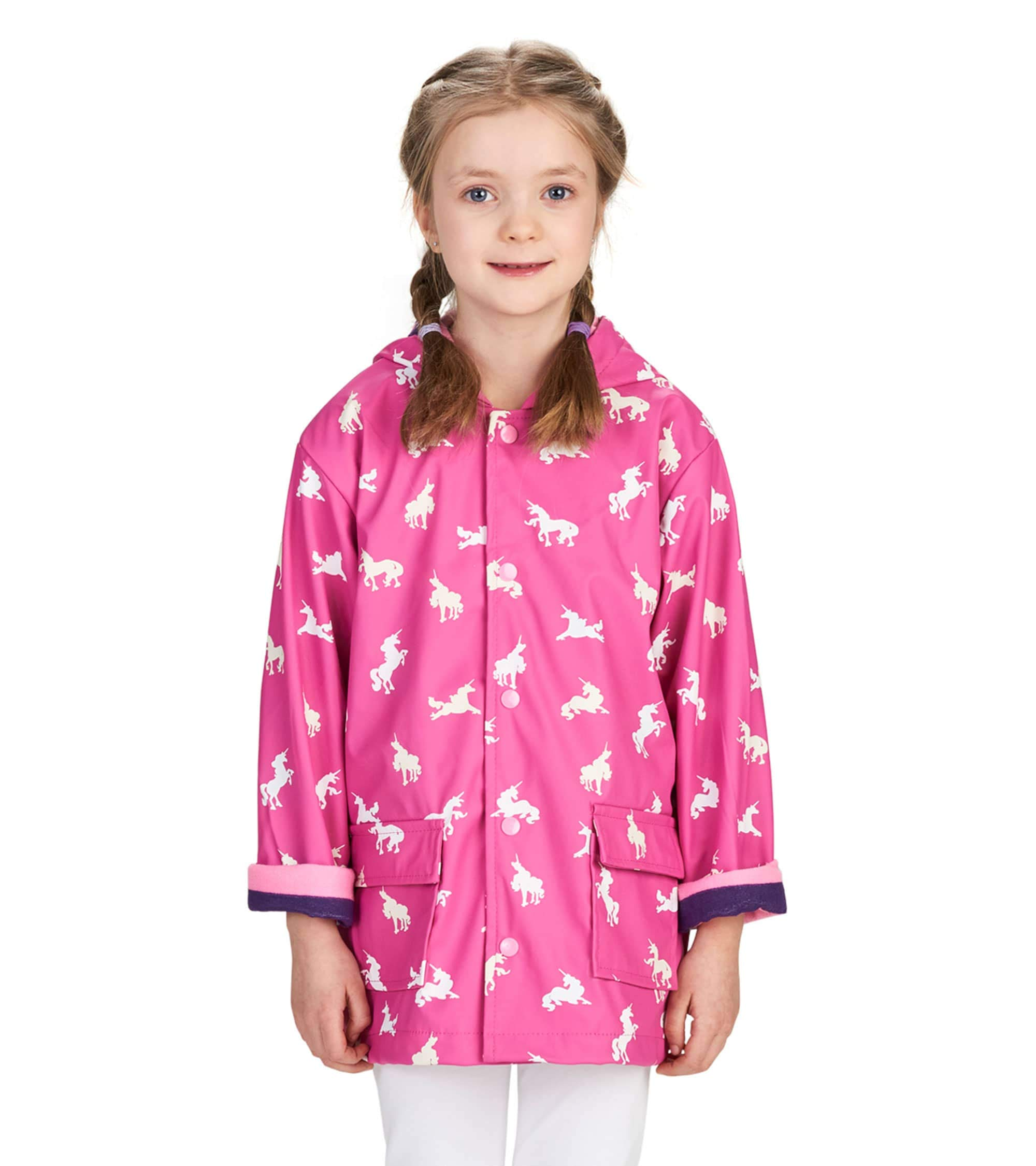 Hatley Girls' Little Printed Raincoats, Colour Changing Unicorn Silhouettes, 2