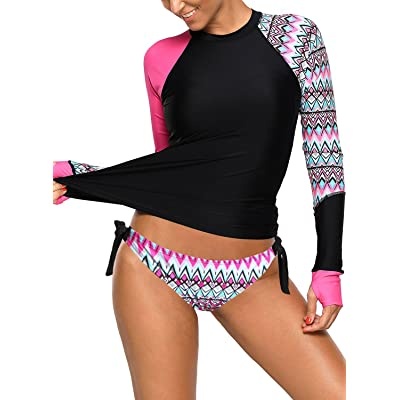 Women's Long Sleeves Rash Guard Athletic Swim Aztec Tankini Sets Swimsuit at Women's Clothing store