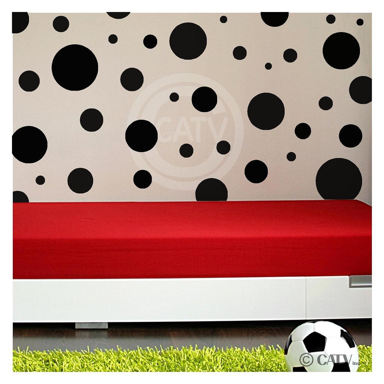 Assorted Vinyl Polka Dots circle wall decals vinyl stickers nursery decor (Black/set of 32)