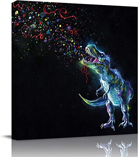 Amazon Com Square Wall Art On Canvas Art Prints Oil Painting For Home Decor Cool Bubble Dinosaur Animal Black Pattern Artworks Stretched By Wooden Frame Ready To Hang 12x12in Posters Prints