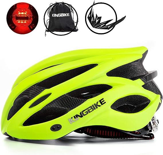 KINGBIKE Ultralight Bike Helmets CPSC&CE Certified with Rear Light + Portable Simple Backpack + Detachable Visor for Men Women(M/L