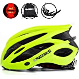 KINGBIKE自転車ヘルメット大人のロードバイク/サイクリングヘルメットシンプルなヘルメットのバックパックメンズ女性との超軽量高剛性LEDライトヘルメット56-63 CM M/L/XL(CPSC認証済み)