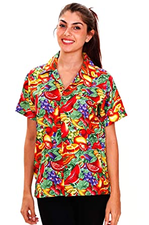 67713b680 V.H.O Funky Hawaiian Blouse Women Short-Sleeve Front-Pocket Tutti Frutti  Mix Multicolor at Amazon Women's Clothing store: