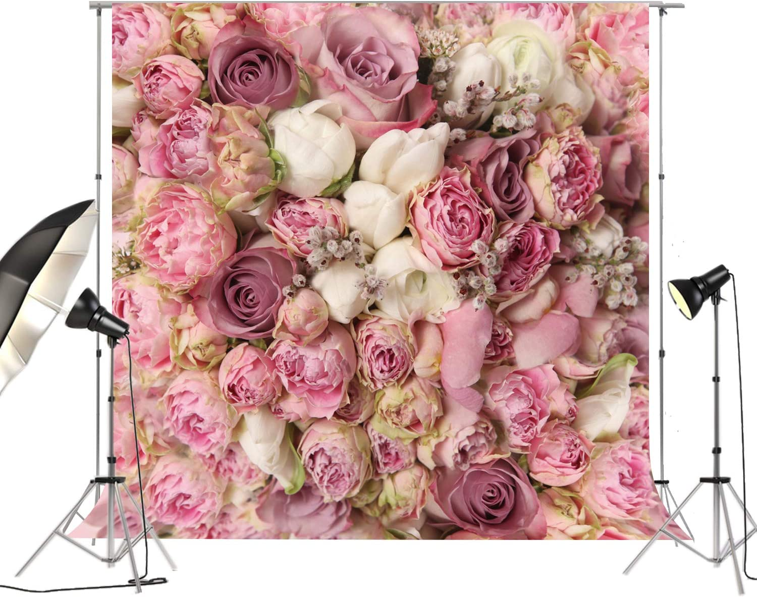 Amazon Com 6 5x6 5ft Large Pink Purple Roses Floral Backdrop For