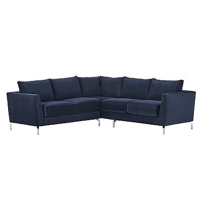 """Rivet Emerly Modern Velvet Metal Leg Sectional Sofa, 96"""" W, Navy"""