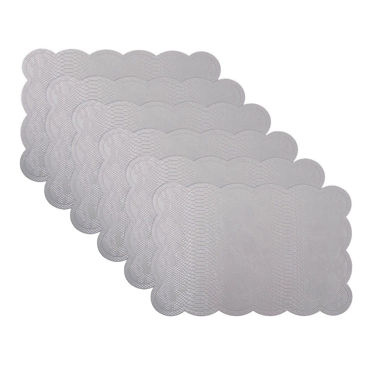 SICOHOME Leather Placemats,Grey Plastic Placemats Home,Set of 6 by SICOHOME (Image #1)
