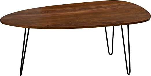 FineBuy Couchtisch FB51422 110 x 45 x 60 cm Sheesham Massivholz Sofatisch  Retro | Design Nierentisch Holz/Metall | Holztisch Wohnzimmertisch massiv |  ...