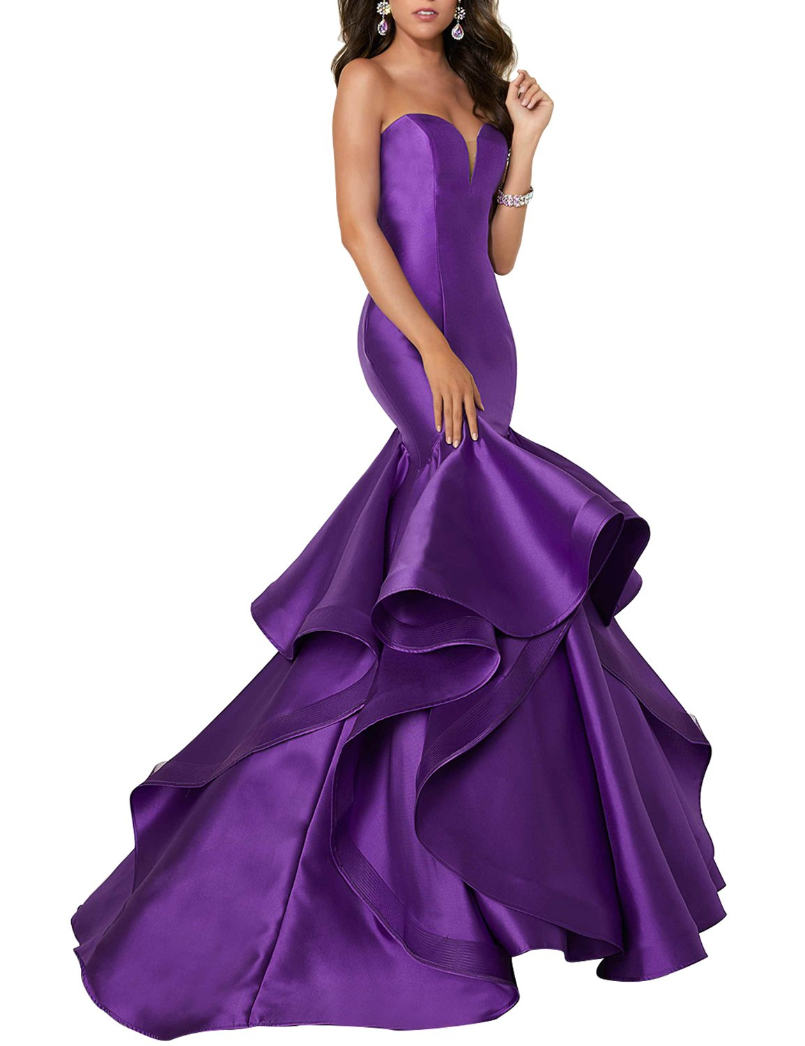 Dannifore Womens Satin Prom Gowns Short Homecoming Party Evening Dresses