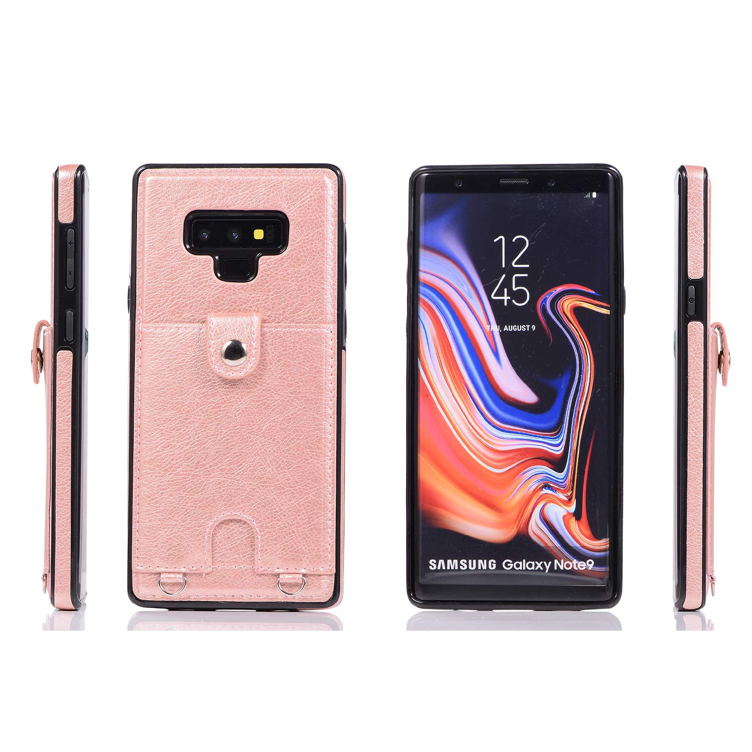 37850c4a76f9 Galaxy Note 9 PU Wallet Cover Card Holder Slot Protect Crossbody Chain  Strap 6.4