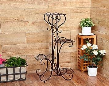 TR Soporte de flores para interiores, estante para flores, hierro marrón, 4 niveles
