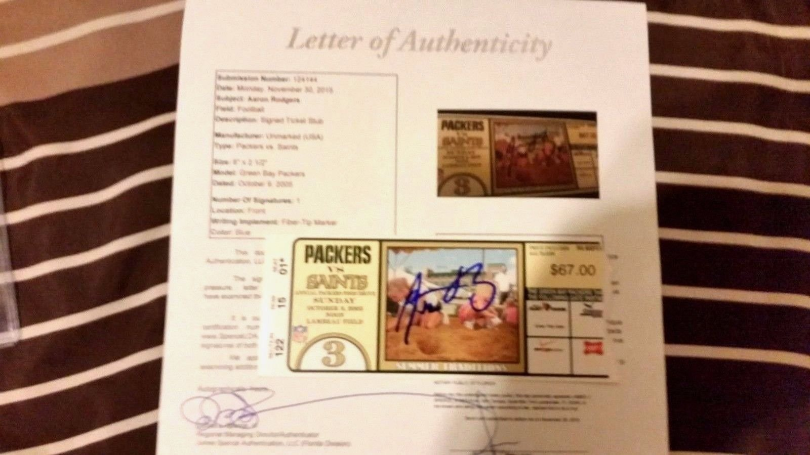 Aaron Rodgers Autographed Signed NFL Debut Game 1st Game Season Ticket Stub 10/9/05 Memorabilia JSA Authentic