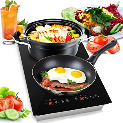65c987b51c141 Dual 120V Electric Induction Cooker - 1800w Portable Digital Ceramic  Countertop Double Burner Cooktop w