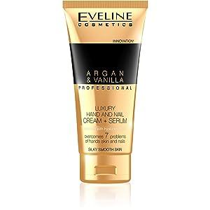 Eveline Professional Luxury Hands & Nails Cream-Serum Argan & Vanilla, 3.38 Fluid Ounce