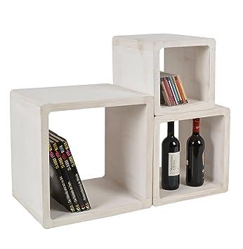 lot de 3 cube design table de chevet tagre du salon tables en bois massif blanc - Etagere Table De Nuit