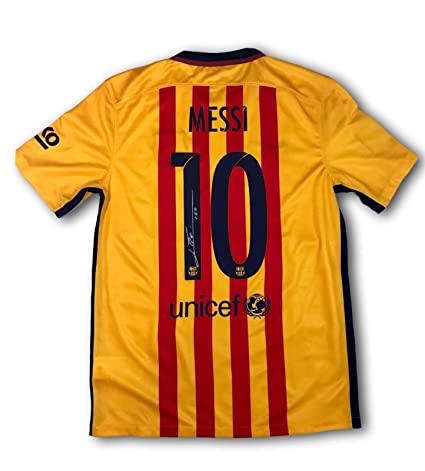 hot sale online b5eba 1b403 LIONEL MESSI SIGNED 2015 BARCELONA AWAY JERSEY LEO ICONS COA ...