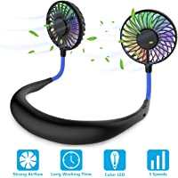 Hands Free Portable Neck Fan - Rechargeable Mini USB Personal Fan Battery Operated with 3 Level Air Flow, 7 LED Lights for Home Office Travel Indoor Outdoor (Black+Blue)