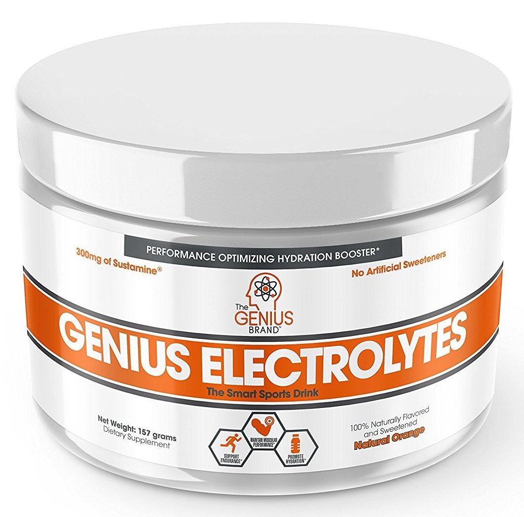 Genius Electrolyte Powder – Natural Hydration Booster   Endurance Supplement with Electrolytes (Potassium, Magnesium, Zinc) - Sugar Free, Vegan, Keto Friendly Energy - Orange Fizz (Drink Mix), 30 Sv