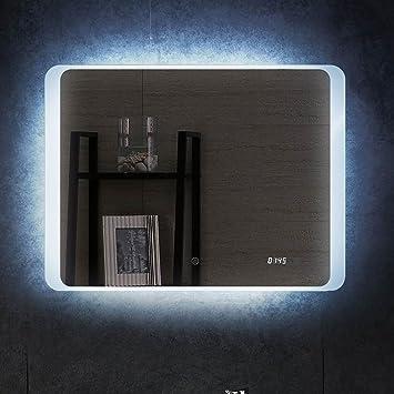 Spiegel mit beleuchtung und uhr  Amazon.de: LED Badspiegel mit Beleuchtung Uhr Spiegel 80x60cm ...