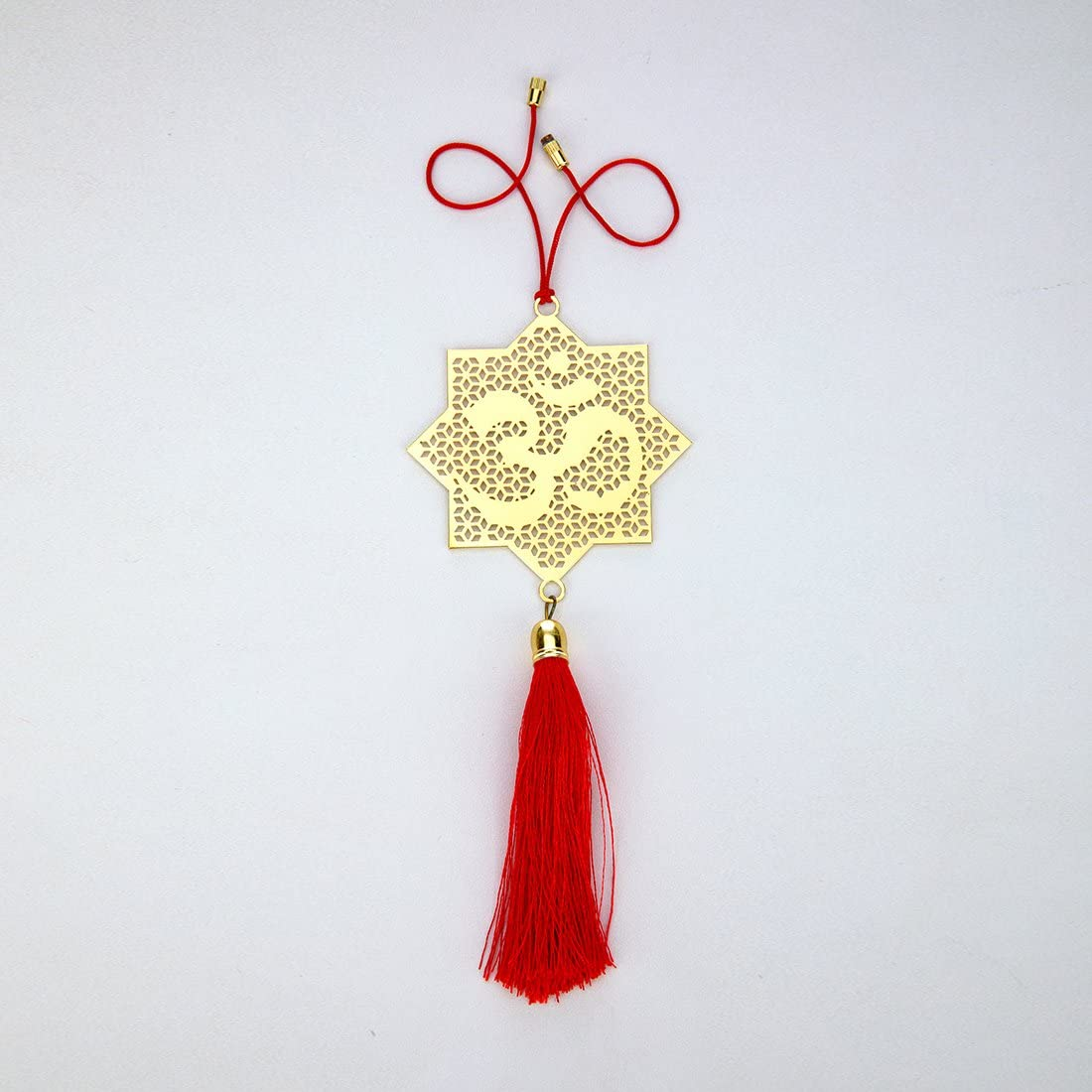 ADORAA Hindu OM/AUM Symbol - Rear View Mirror Car Hanging Ornament/Perfect Car Charm Pendant/Amulet - Accessories for Car Décor in Brass for Divine Blessings & Safety/Protection - Jaali