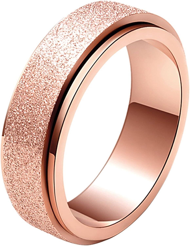 ALEXTINA Women's Men's 6MM 8MM Fashion Stainless Steel Spinner Ring Sand Blast Finish
