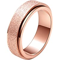 ALEXTINA Women's Men's 6MM 8MM Fashion Stainless Steel Spinner Ring Sand Blast Finish