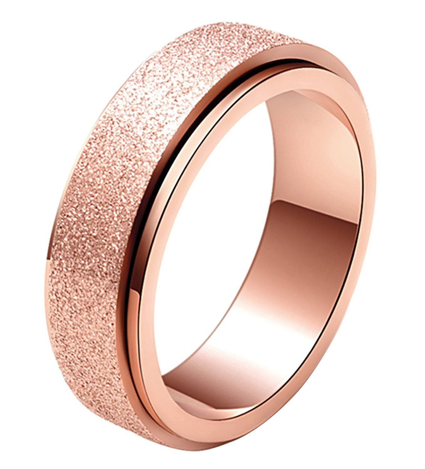 ALEXTINA Women's 6MM Stainless Steel Ring Spinner Band Sand Blast Finish Rose Gold Size 7