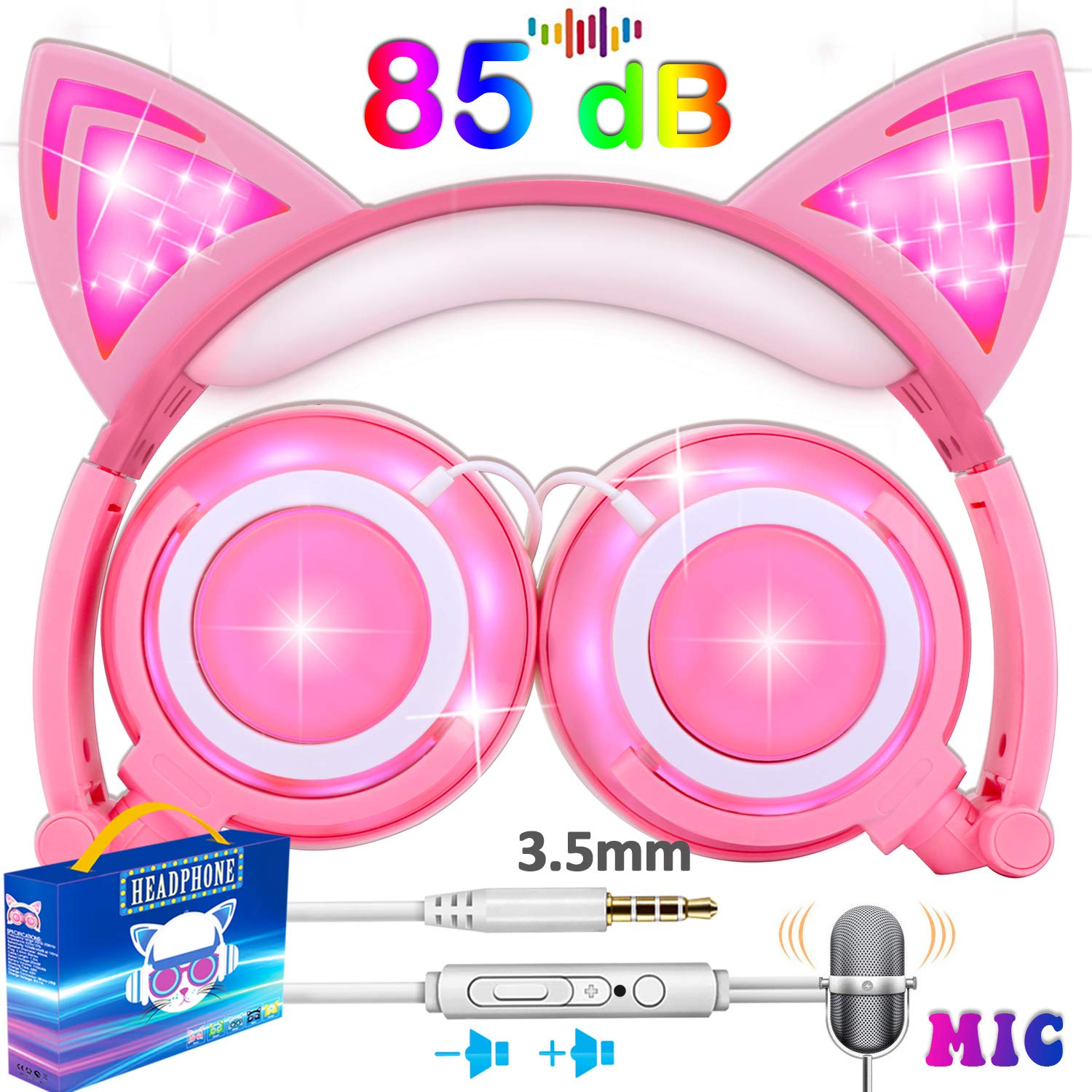 Kids Cat Ear Headphones for Girls Boys Toddler with Mic LED Light 85dB Volume Limit USB Rechargeable Wired Foldable iGeeKid Over/On Ear Headset Phone Tablet Travel School Music Device Gift Pink