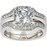 2.00 Ct Simulated Diamond Solitaire 3 PCS Wedding Ring Set 925 Silver