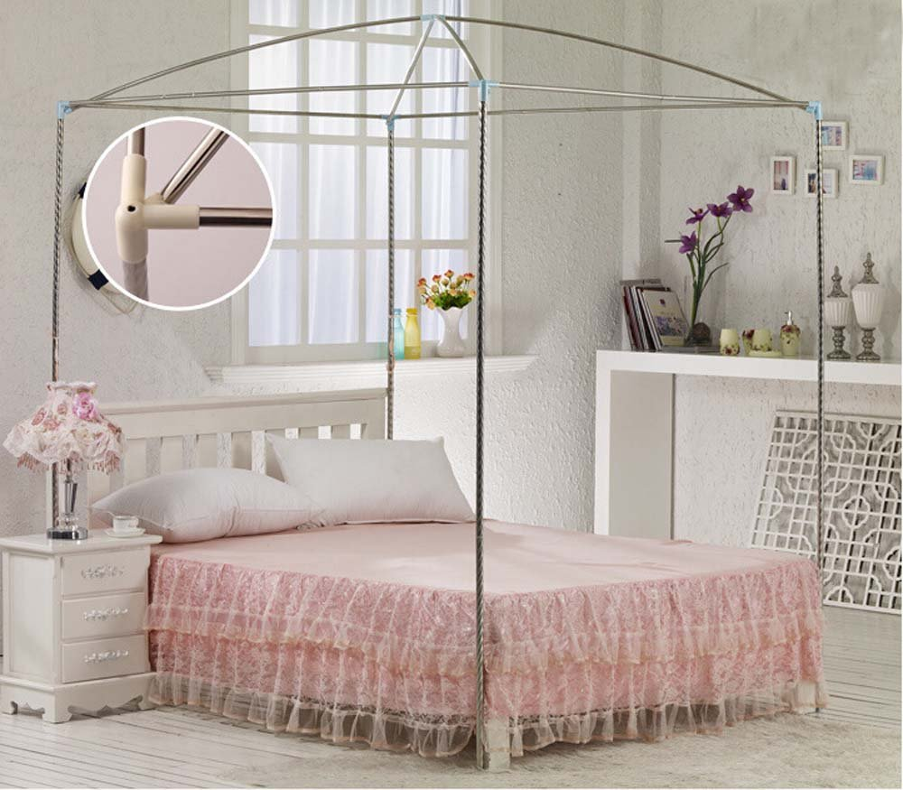 Nattey Red 4 Corner Post Bedding Canopy Mosquito Netting With Frame(Post) Queen Size by Nattey (Image #3)