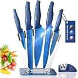 Wanbasion Blue 7 piece Kitchen Knife Sets Dishwasher Safe, Knife Block Stainless Steel with Knives, Professional Knife Set fo