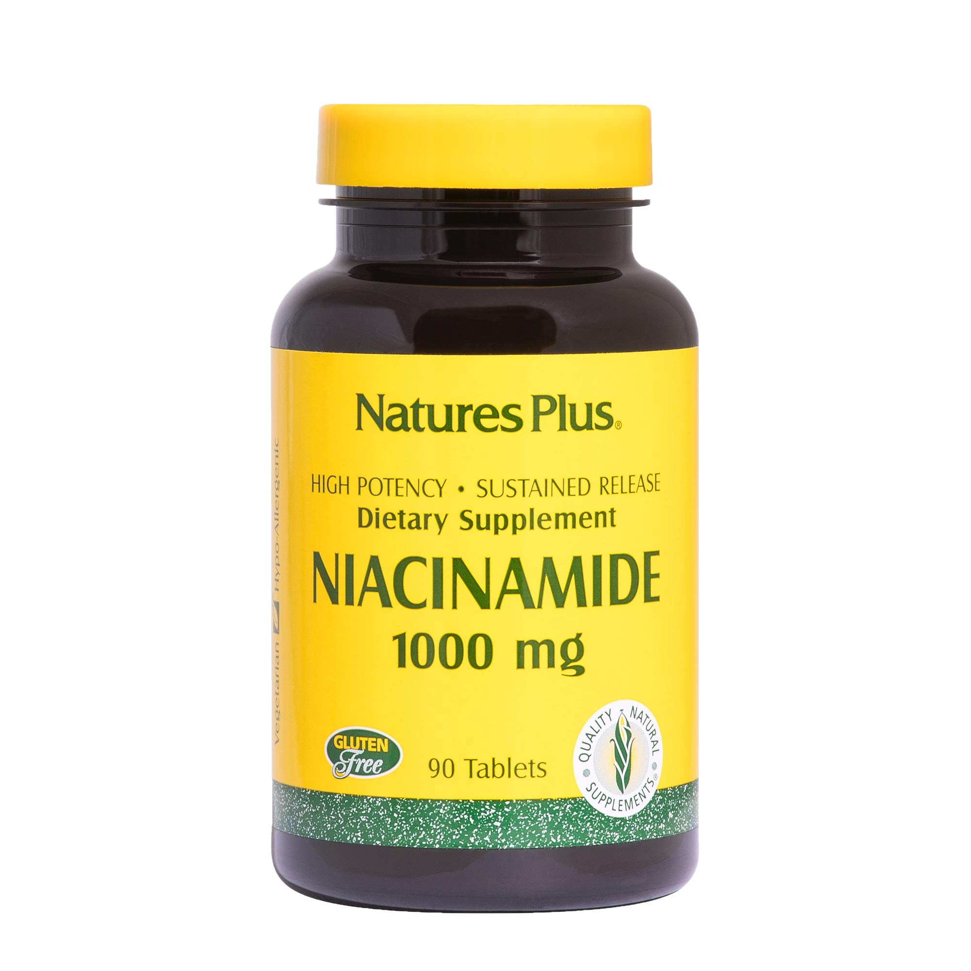 NaturesPlus Niacinamide, Sustained Release - 1000 mg, 90 Vegetarian Tablets - High Potency Vitamin B3 Supplement, Promotes Lower Blood Pressure, Joint Pain Relief - Gluten-Free - 90 Servings
