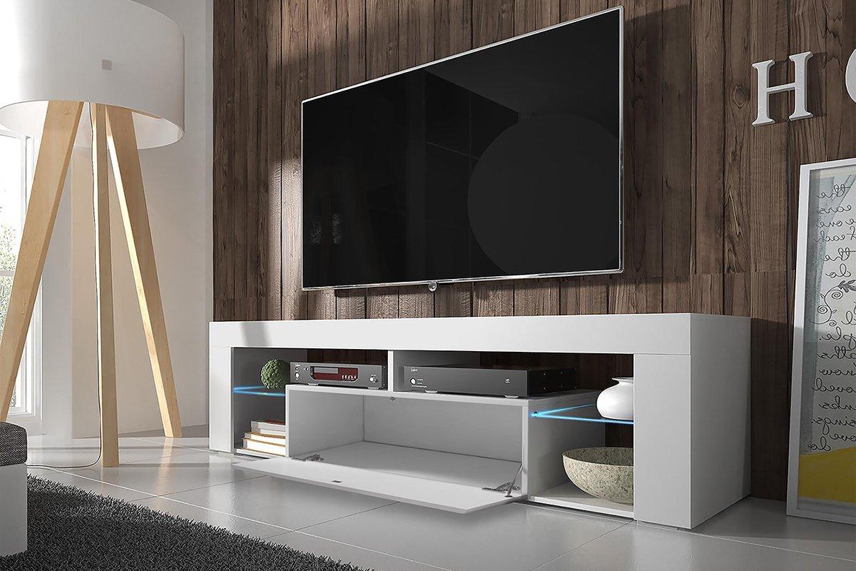 Meuble TV contemporain design pas cher (140 cm, Blanc Mat / Fronts Blanc Brillant avec l'éclairage LED)