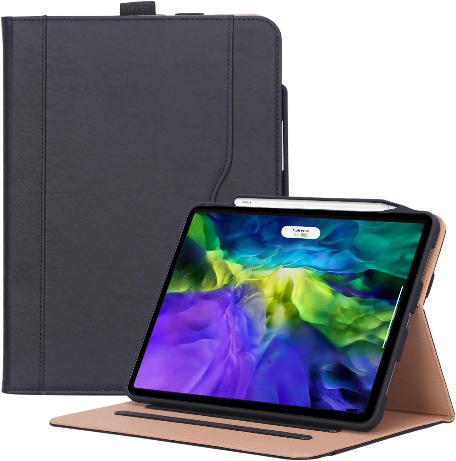 ProCase Funda Cuero PU para iPad Pro 11 2020, Carcasa Tipo Libro con Portalápiz/Suspensión Automática, Apoya Carga Apple Pencil 2, para iPad Pro 11