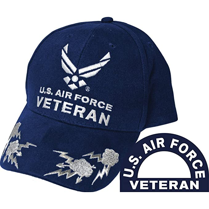 Eagle Emblems Men s Air Force Veteran with Lightning Embroidered Ball Cap 84137259d4c