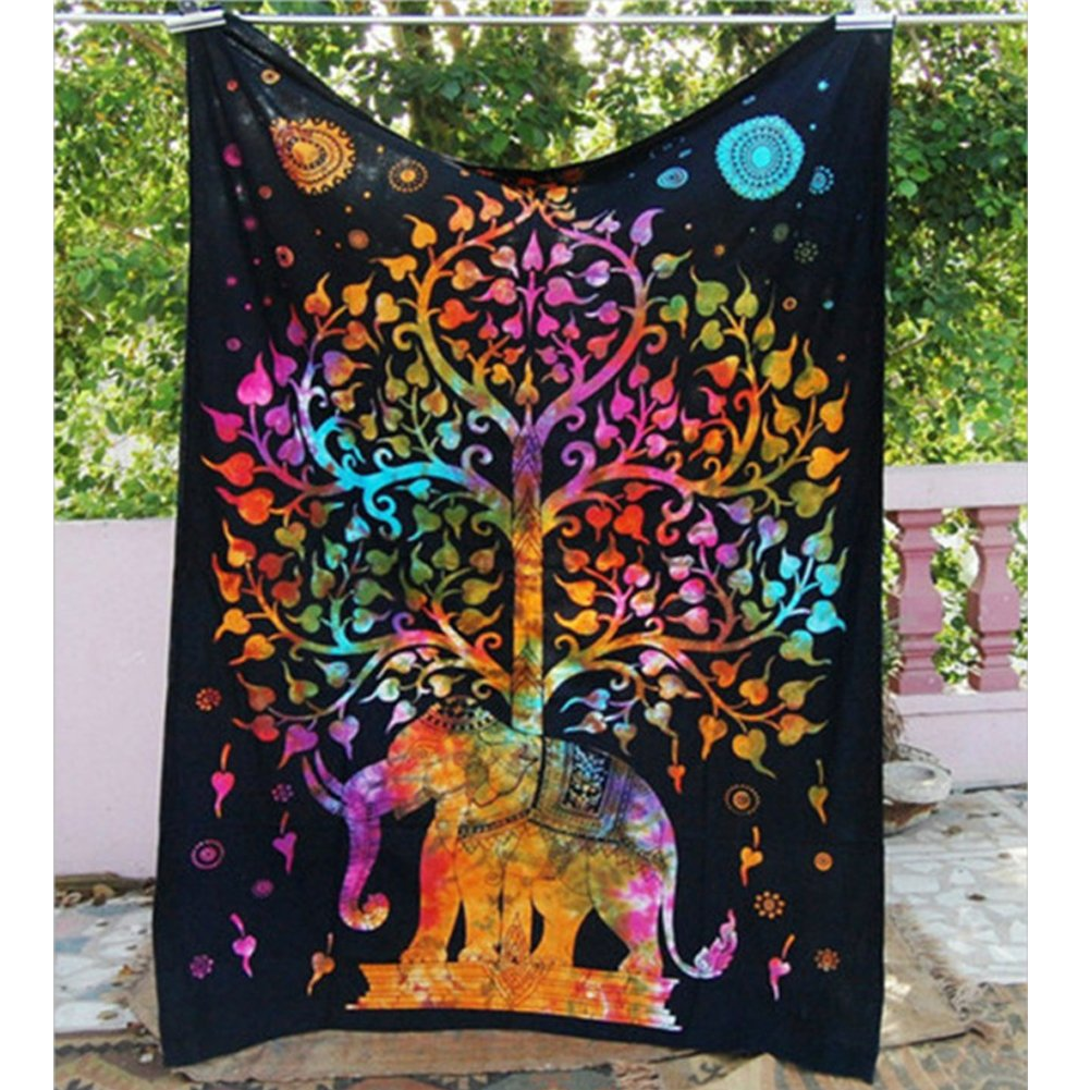Elephant Tapestry Wall Hanging Decor Indian Home Hippie Bohemian Tapestry for Dorms Shukqueen