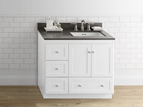 Amazon Com Ronbow Essentials Shaker 36 Inch Bathroom Vanity Cabinet Base In White Finish With Soft Close Wood Doors On Right And Full Extension Drawers 081936 3r W01 Kitchen Dining