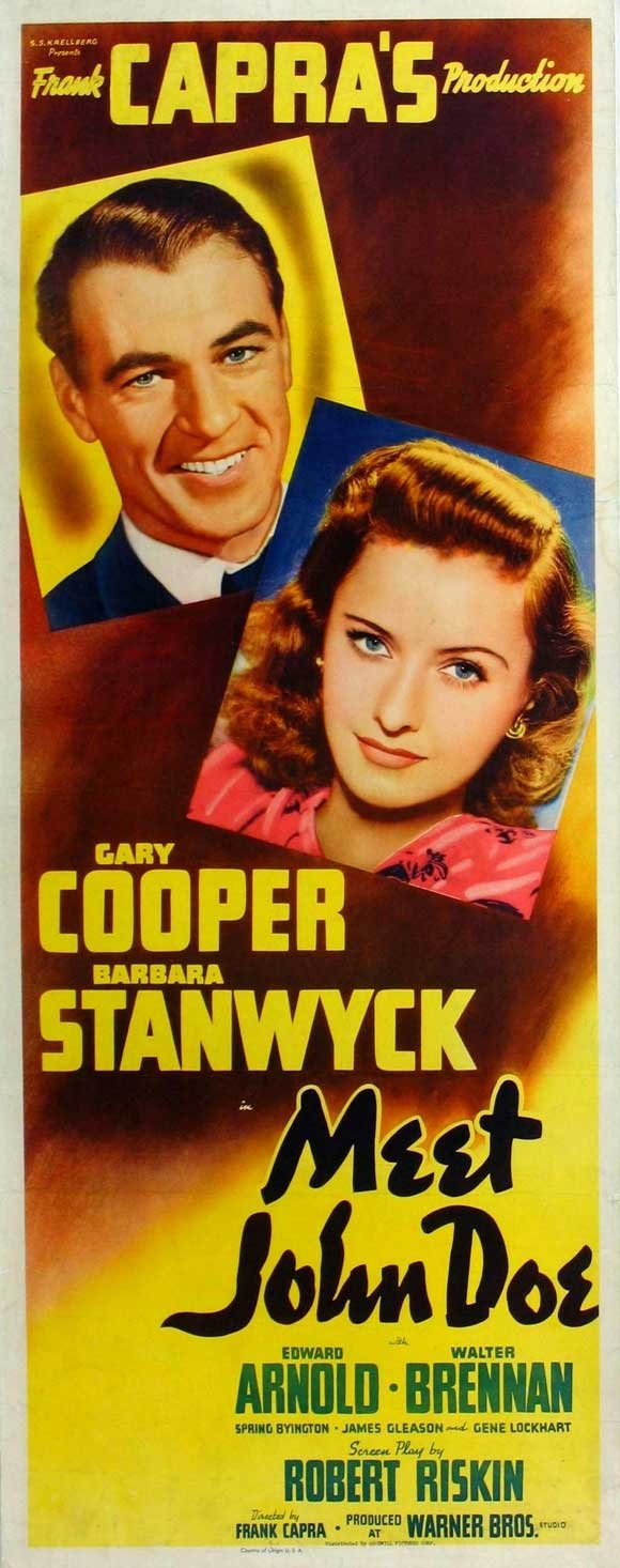 Meet John Doe 1941 Gary Cooper Barbara Stanwyck Movie Poster Poster Reproduction