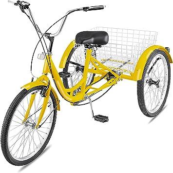 Happbuy - Bicicleta de 3 ruedas para adultos (61 cm, cómoda ...