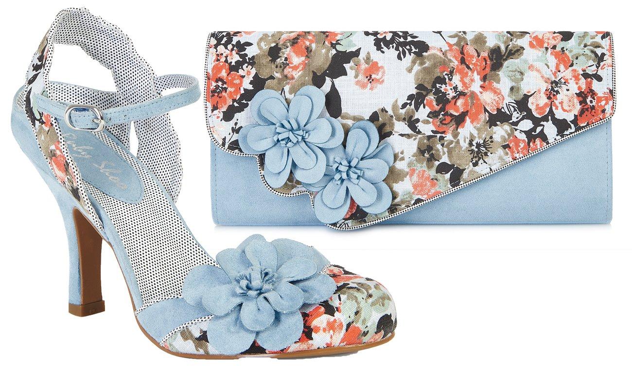 Ruby Shoo Women's Sky Blue Floral Heidi Fabric Slingback Pumps & Rio Bag UK 8 EU 41 by Ruby Shoo