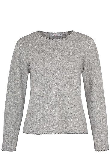 Sabrina Prexl Damen Trachten Pullover mit Zopfmuster und Falte hellgrau, Hellgrau,