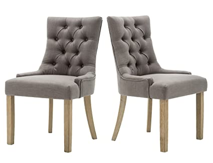 Merveilleux Kmax Rustic Upholstered Fabric Accent Chair, Century Dining Chair With  Solid Wood Legs U0026 Retro